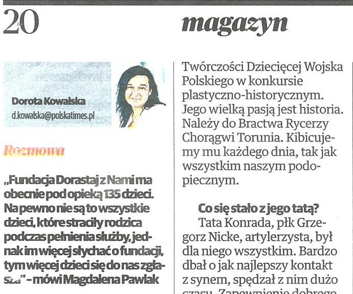 WYWIAD W MAGAZYNIE POLSKA TIMES